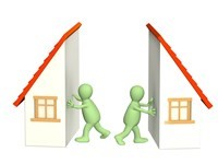 Image of two cartoon people splitting a house down the middle