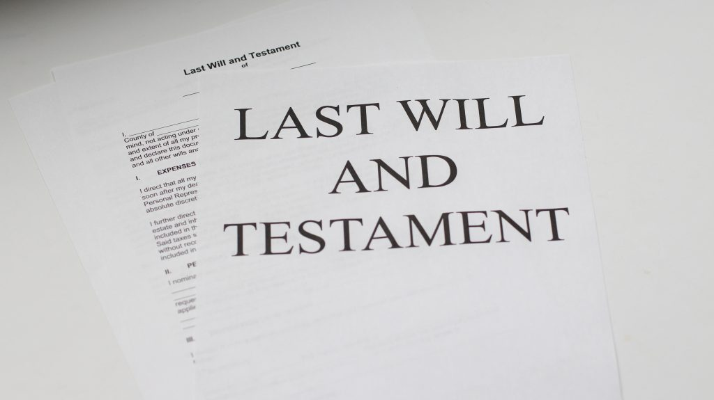 Picture of a Will to illustrate the importance of business succession planning